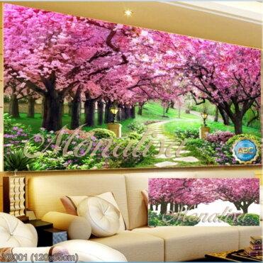 Y8001 Tranh đính đá Con đường tình yêu kích thước trung bình 120x65 cm