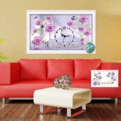 Y8016 Tranh đính đá Đồng hồ hoa hồng tím kích thước siêu nhỏ 80x50 cm
