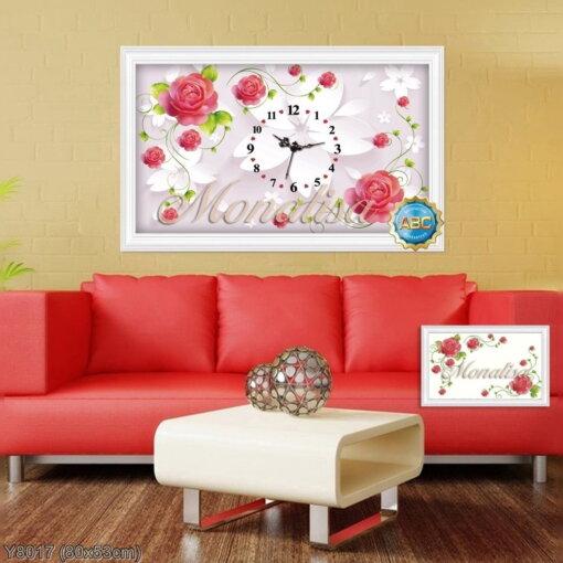 Y8017 Tranh đính đá Đồng hồ hoa hồng đỏ kích thước nhỏ 80x53 cm