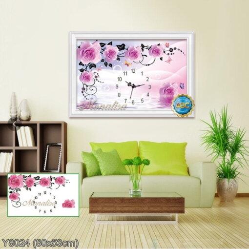 Y8024 Tranh đính đá Đồng hồ hoa hồng kích thước nhỏ 80x53 cm