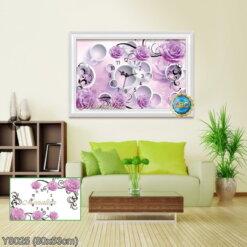 Y8025 Tranh đính đá Đồng hồ hoa hồng tím kích thước nhỏ 80x53 cm