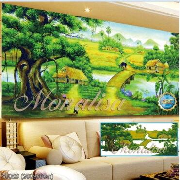 Y8029 Tranh đính đá Phong cảnh làng quê kích thước lớn 200x98 cm