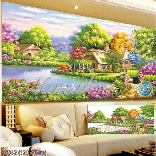 Y8042 Tranh đính đá Hồ Thiên Nga kích thước trung bình 120x75 cm