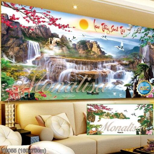 Y8055 Tranh đính đá Lưu thủy sinh tài kích thước trung bình 160x70 cm