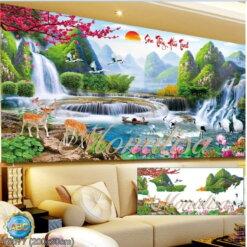 Y8077 Tranh đính đá Sơn Thủy Hữu Tình kích thước lớn 200x90 cm