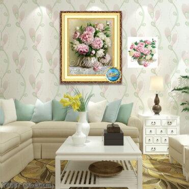 Y8087 Tranh đính đá Bình hoa nghệ thuật kích thước siêu nhỏ 50x60 cm