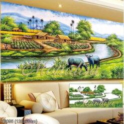 Y8095 Tranh đính đá Con trâu trên đồng cỏ kích thước trung bình 120x60 cm