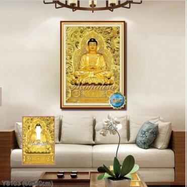 Y8103 Tranh đính đá Phật A di đà kích thước nhỏ 60x90 cm