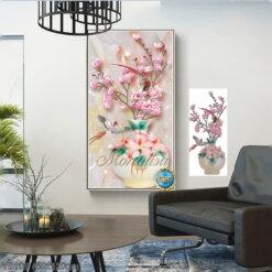 Y8109 Tranh đính đá Bình hoa Mộc Lan kích thước trung bình 65x120 cm