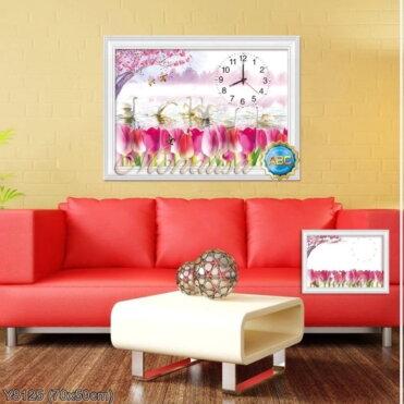 Y8125 Tranh đính đá Đồng hồ hoa Tulip kích thước siêu nhỏ 70x50 cm