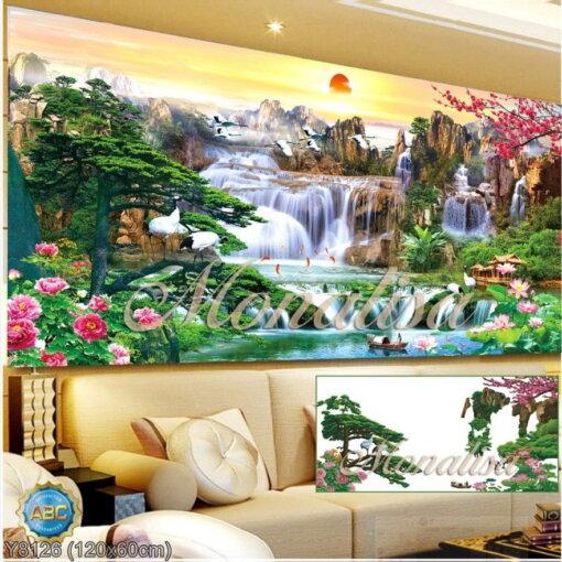 Y8126 Tranh đính đá Phong cảnh thiên nhiên kích thước trung bình 120x60 cm