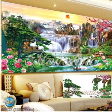 Y8127 Tranh đính đá Phong cảnh thiên nhiên kích thước trung bình 160x70 cm