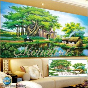 Y8132 Tranh đính đá Phong cảnh Quê Hương kích thước lớn 200x90 cm