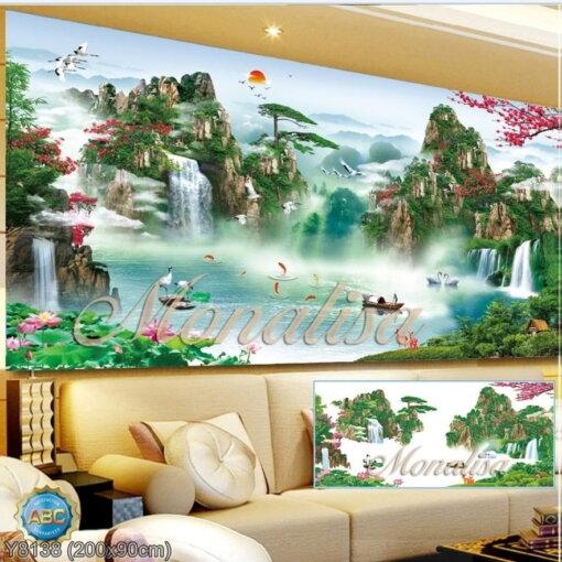 Y8138 Tranh đính đá Phong cảnh thiên nhiên kích thước lớn 200x90 cm