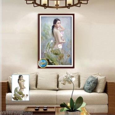 Y8140 Tranh đính đá Cô nàng xinh đẹp kích thước nhỏ 60x90 cm