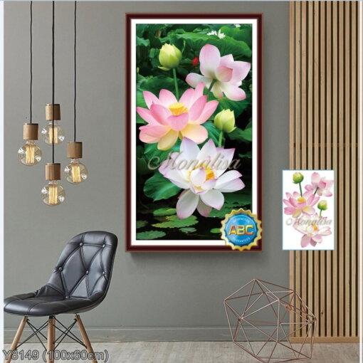Y8149 Tranh đính đá Bông hoa sen kích thước nhỏ 100x60 cm