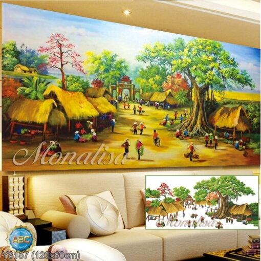 Y8157 Tranh đính đá Phong cảnh chợ quê kích thước trung bình 120x60 cm