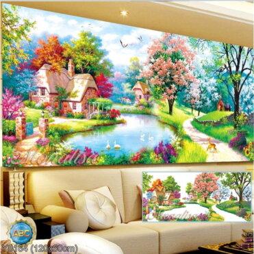 Y8164 Tranh đính đá Hồ Thiên Nga kích thước trung bình 120x60 cm