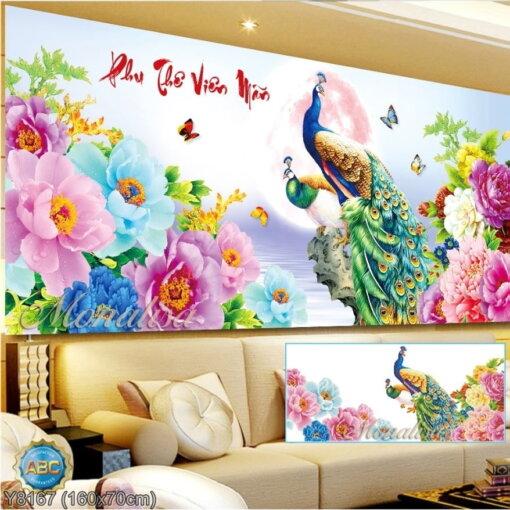 Y8167 Tranh đính đá Phu Thê Viên Mãn kích thước trung bình 160x70 cm