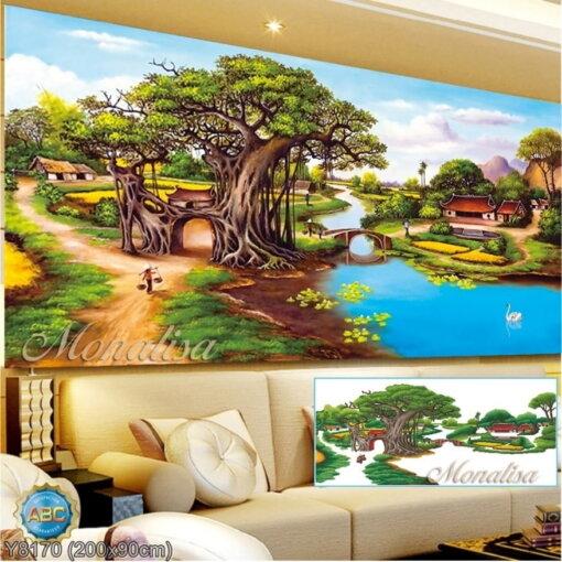 Y8170 Tranh đính đá Phong cảnh làng quê kích thước lớn 200x90 cm
