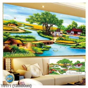 Y8171 Tranh đính đá Phong cảnh quê hương kích thước trung bình 120x60 cm