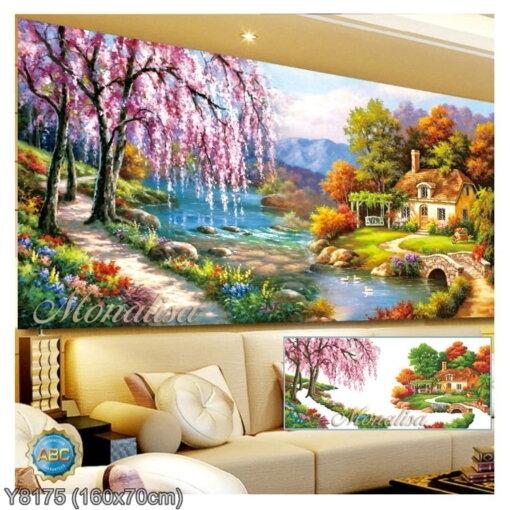 Y8175 Tranh đính đá Hồ Thiên Nga kích thước trung bình 160x70 cm