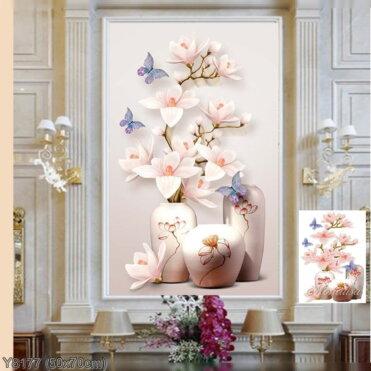 Y8177 Tranh đính đá Bình hoa Lan 2/3 kích thước siêu nhỏ 50x70 cm