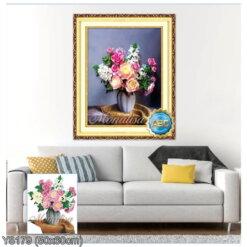Y8179 Tranh đính đá Bình hoa nghệ thuật kích thước siêu nhỏ 50x60 cm