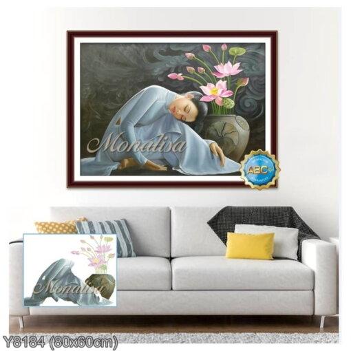 Y8184 Tranh đính đá Cô nàng xinh đẹp kích thước nhỏ 80x60 cm