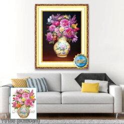 Y8188 Tranh đính đá Bình hoa khoe sắc kích thước siêu nhỏ 50x60 cm