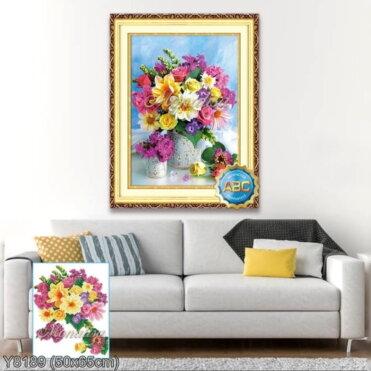 Y8189 Tranh đính đá Bình hoa khoe sắc kích thước siêu nhỏ 50x65 cm