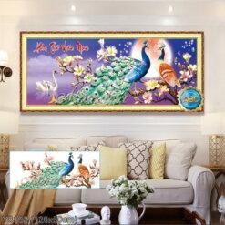 Y8192 Tranh đính đá Phu Thê Viên Mãn kích thước trung bình 120x50 cm