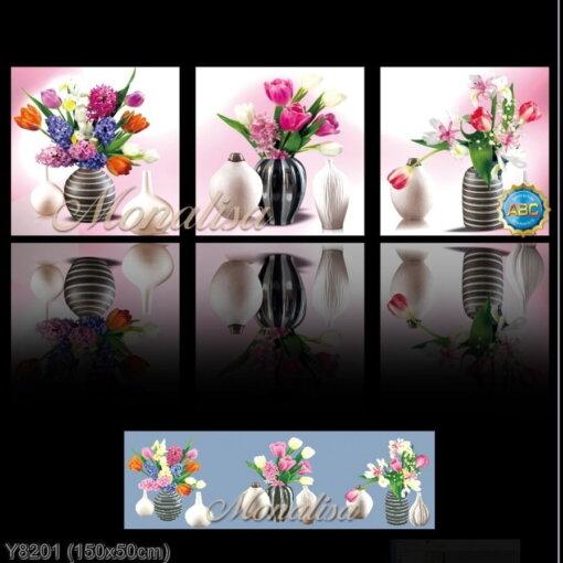 Y8201 Tranh đính đá Bình hoa 3 bức kích thước trung bình 150x50 cm