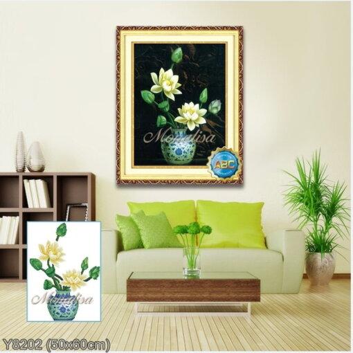 Y8202 Tranh đính đá Bình hoa sen trắng kích thước siêu nhỏ 50x60 cm