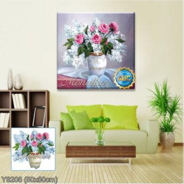 Y8205 Tranh đính đá Bình hoa nghệ thuật 3 bức 3/3 kích thước siêu nhỏ 50x50 cm