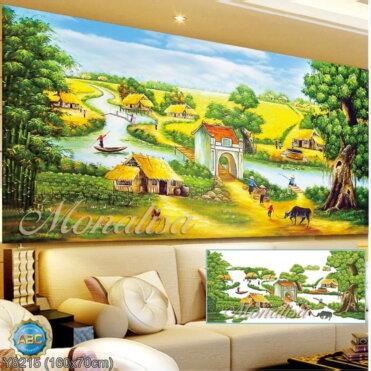 Y8215 Tranh đính đá Phong cảnh Việt Nam kích thước trung bình 160x70 cm