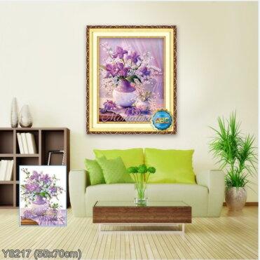 Y8217 Tranh đính đá Bình hoa nghệ thuật kích thước siêu nhỏ 55x70 cm
