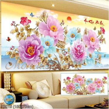 Y8219 Tranh đính đá Hoa Khai Phú Quý  kích thước trung bình 150x70 cm