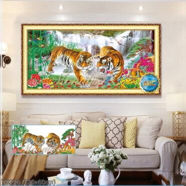Y8226 Tranh đính đá Hai con hổ kích thước trung bình 120x60 cm