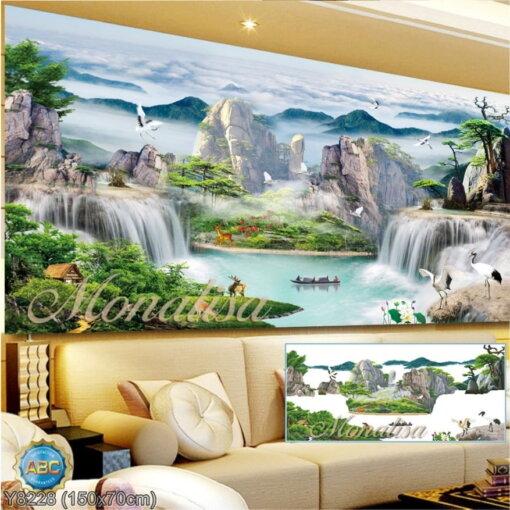 Y8228 Tranh đính đá Phong cảnh thiên nhiên kích thước trung bình 150x70 cm
