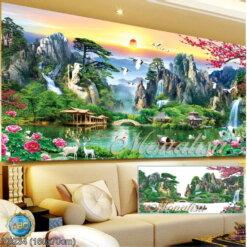Y8234 Tranh đính đá Thiên nhiên hùng vỹ kích thước trung bình 160x70 cm