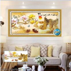 Y8237 Tranh đính đá Phú Quý cát tường kích thước trung bình 150x75 cm