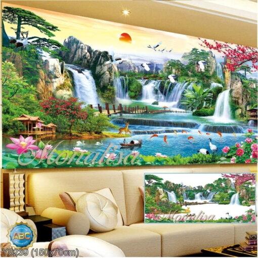 Y8239 Tranh đính đá Phong cảnh thiên nhiên kích thước trung bình 150x70 cm