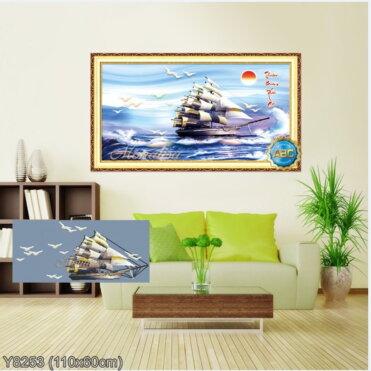 Y8253 Tranh đính đá Thuận Buồm Xuôi Gió kích thước trung bình 110x60 cm