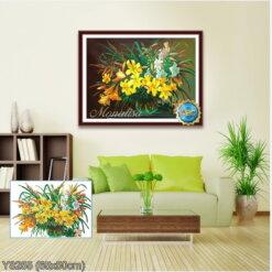 Y8255 Tranh đính đá Bình hoa Lily kích thước siêu nhỏ 65x50 cm