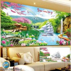 Y8263 Tranh đính đá Thuận buồm xuôi gió kích thước lớn 160x75 cm