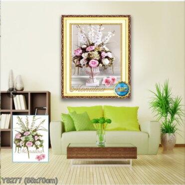 Y8277 Tranh đính đá Bình hoa nghệ thuật 1/3 bức kích thước siêu nhỏ 55x70 cm