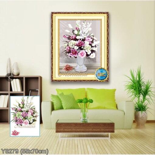Y8279 Tranh đính đá Bình hoa nghệ thuật 3/3 bức kích thước siêu nhỏ 55x70 cm