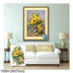 Y8294 Tranh đính đá Bình hoa hồng vàng nghệ thuật kích thước siêu nhỏ 50x70 cm