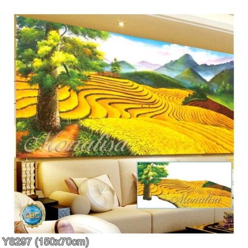 Y8297 Tranh đính đá Ruộng lúa bậc thang kích thước trung bình 150x70 cm